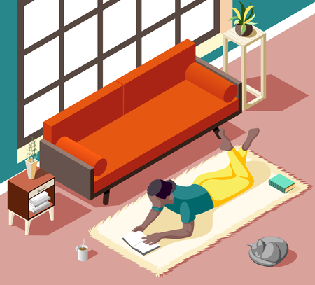 Young woman during reading lying on carpet with cat at home in weekend isometric vector illustration