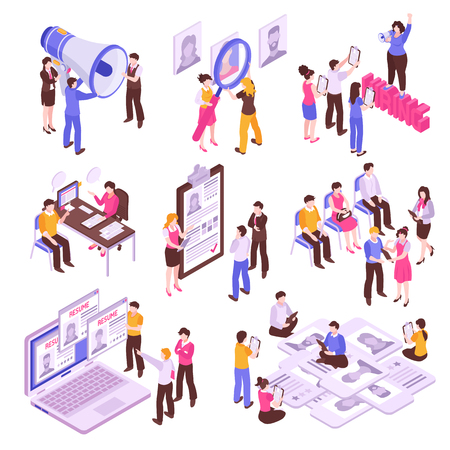 Isometric set with people searching for job isolated on white background 3d vector illustration