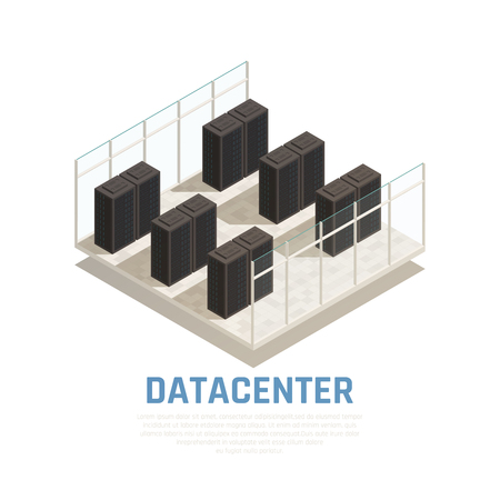Datacenter concept with server database and computing symbols isometric vector illustration