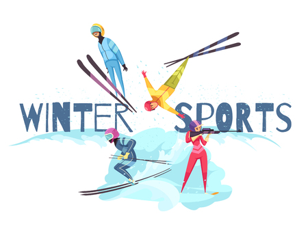 Winter sports concept with jumping alpine skiing and biathlon symbols flat isolated vector illustration