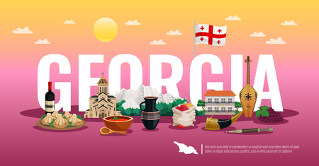Georgia travel horizontal flat composition poster with national flag food landmarks beautiful color gradient background vector illustration