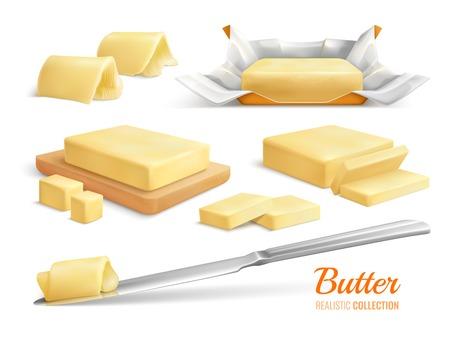 Insieme realistico dei bastoncini e dei rotoli delle fette del burro isolati sull'illustrazione bianca di vettore del fondo Vettoriali