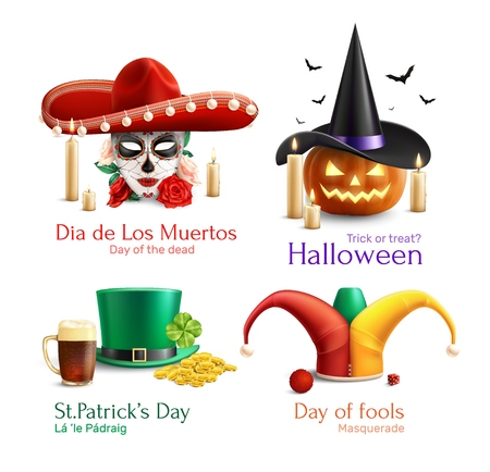 Masquerade hats 2x2  design concept with  day of the dead day of fools halloween saint patrick day square icons realistic vector illustration
