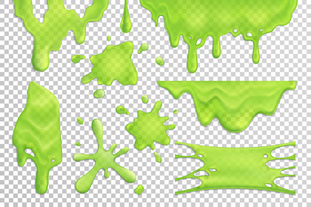 Bright green slime drips and blots set isolated on transparent background realistic vector illustration