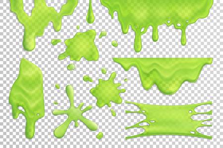 Conjunto de gotas y manchas de limo verde brillante aislado en una ilustración de vector realista de fondo transparente