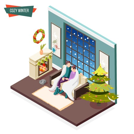Cozy winter isometric design concept with man and woman covered by warm plaid sitting near fireplace vector illustration