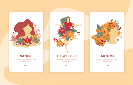 Beauty of autumn girls with floral decorations flat landing compositions for mobile apps isolated vector illustration