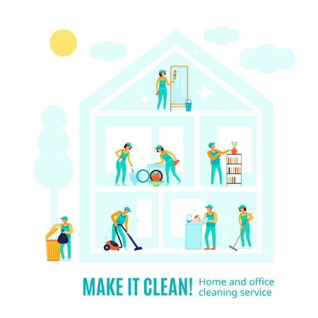 Staff of company in green uniform during professional cleaning in rooms of house advertising vector illustration