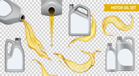 Isolated realistic motor oil transparent icon set jerrycan with yellow oil on transparent background vector illustration Vectores