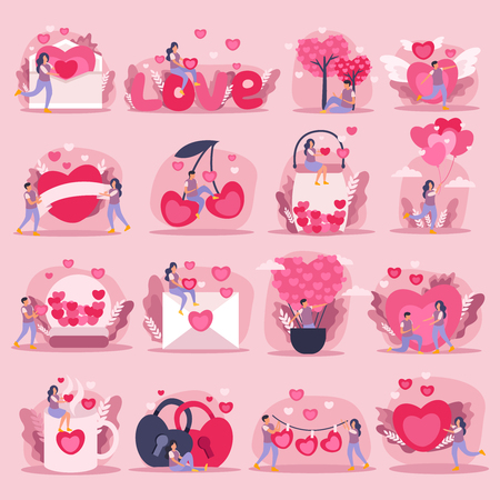 Flat pink love couple icon set or stickers with little and big hearts symbols of feelings and romantic couple vector illustration Illustration