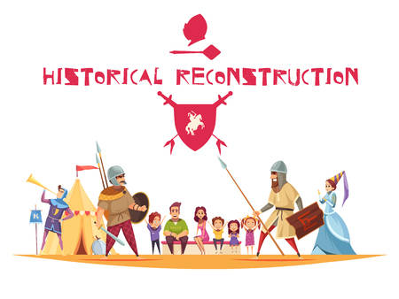 Historical reconstruction concept with ancient warriors and weapons flat vector illustration