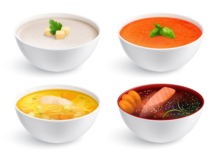Bowls full of chicken noodle soup gazpacho fish soup and soup puree with crouton  realistic set isolated vector illustration
