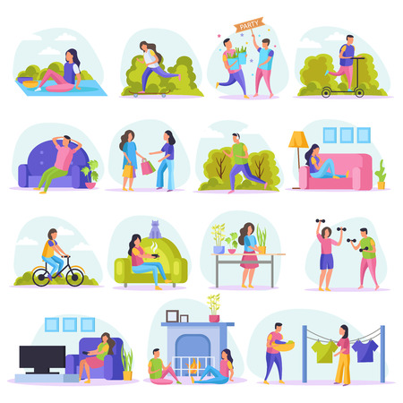 Lazy weekends people flat icon set with resting people watch tv sit on couch shopping riding in the park and other vector illustration Foto de archivo - 126337851