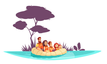 Family active holidays parents and kids in life jackets on inflatable raft cartoon vector illustration