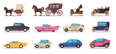 Zestaw ikon starego i nowoczesnego transportu naziemnego, w tym różnych samochodów i powozów konnych na białym tle ilustracji wektorowych