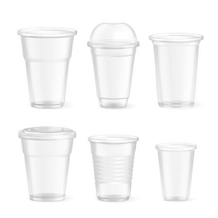 Ensemble de verres alimentaires jetables en plastique réalistes de différentes tailles sur fond blanc isolé illustration vectorielle