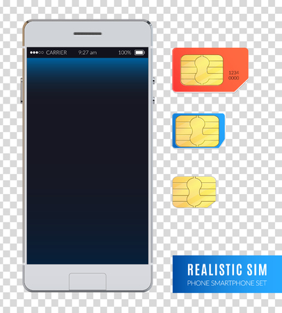 Colored and realistic sim phone smartphone icon set with various sizes of sim cards for device vector illustration Illustration