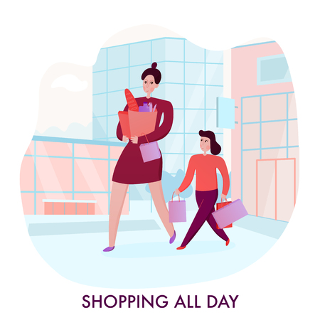Mother and daughter with purchases during going shopping on city buildings background flat vector illustration