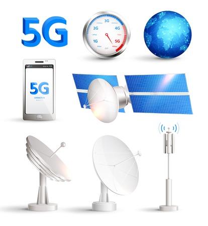 Realistisches Set des mobilen Hochgeschwindigkeitsinternets mit Satelliten und Smartphone mit Titel 5g isolierte Vektorillustration