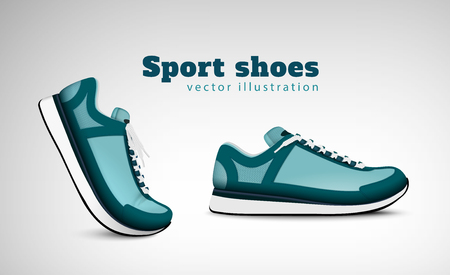 Sport training running tennis shoes  advertising realistic composition with pair trendy comfortable everyday wear sneakers vector illustration