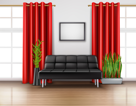 Realistic room interior with luxury red curtains on french windows leather black sofa light floor vector illustration Illustration