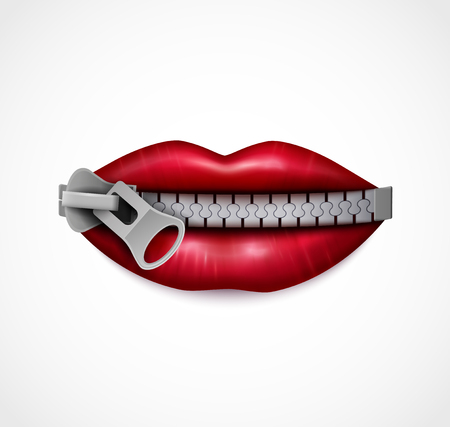 Zipped mouth closeup realistic symbolic image of red glossy lips sealed with metal zip fastener vector illustration