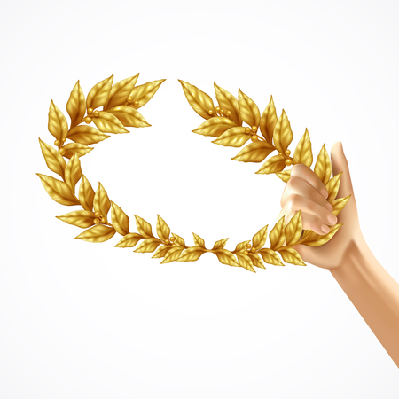 Golden laurel wreath in human hand realistic design concept isolated on white background vector Illustration