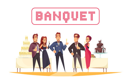 Banquet tables with food and drinks organizer and guests on white background cartoon vector illustration