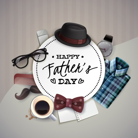 Fathers day celebration round frame card circular realistic composition of hat bow tie mustache glasses vector illustration