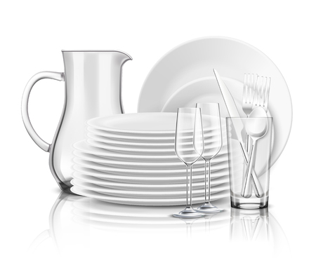 Clean tableware realistic design concept with stack of white plates glass jug and wine glasses vector illustration