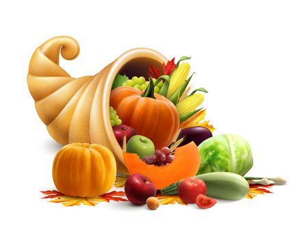Thanksgiving or golden horn of plenty design concept with cornucopia full of vegetables and fruit produce vector illustration