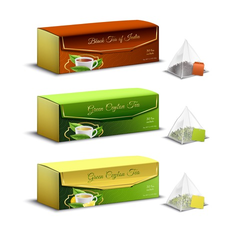 Green black indian and ceylon tea pyramid bags packaging boxes realistic set advertising sale isolated vector illustration Illustration