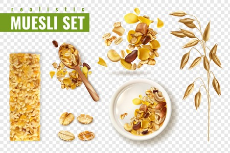 Realistic muesli on transparent background set with isolated images of cereals spreading and bars with text vector illustration Stock Illustratie
