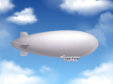 Dirigible in the sky realistic background  with air transport symbols vector illustration