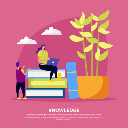 Library of knowledge flat composition human characters near pile of books on pink background vector illustration