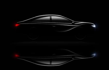 Rozświetlony luksusowy samochód sedan w ciemności z reflektorami i tylnymi światłami oświetlonymi realistycznym odbiciem obrazu ilustracji wektorowych