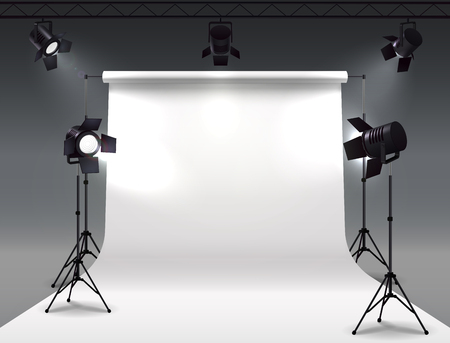 Spotlights realistic composition with cyclorama and studio spot lights hanging on reel and mounted on stands vector illustration