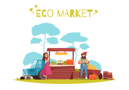 Human characters and harvest of horticulture at eco market cartoon composition on blue white background vector illustration Illustration