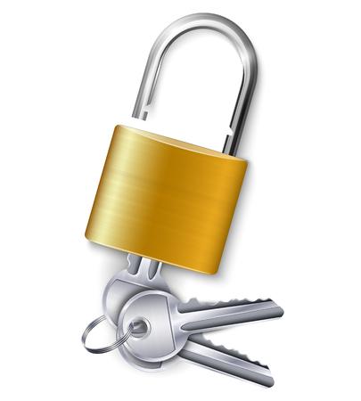 Elegante candado dorado metálico con kit de tres llaves sobre fondo blanco ilustración vectorial realista