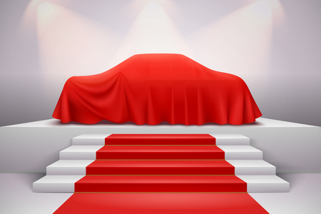 Luxury car covered with red silk draped cloth presentation on podium with staircase carpet realistic vector illustration Illustration