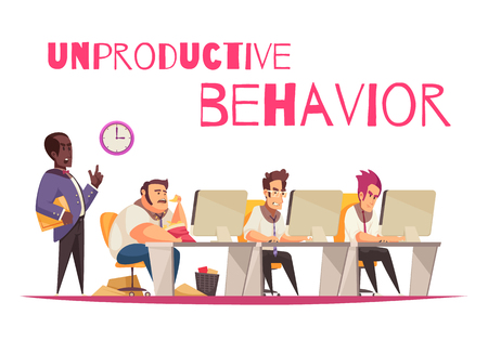 Unproductive behavior concept with overeating and gluttony symbols flat vector illustration Illustration