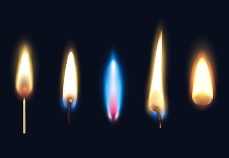 Satz realistische brennende Flammen von Streichhölzern und Feuerzeug einzeln auf schwarzer Hintergrundvektorillustration Vektorgrafik