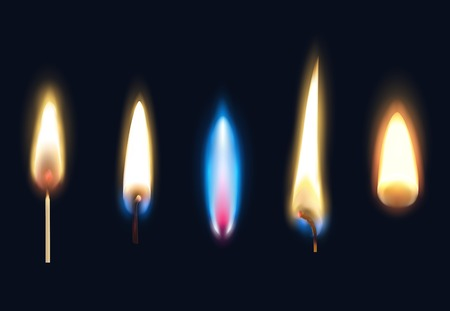 Set of realistic burning flames of matches candles and lighter isolated on black background vector illustration