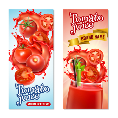 Realistic tomato juice vertical banners set with splashes of red liquid and whole fruits with text vector illustration