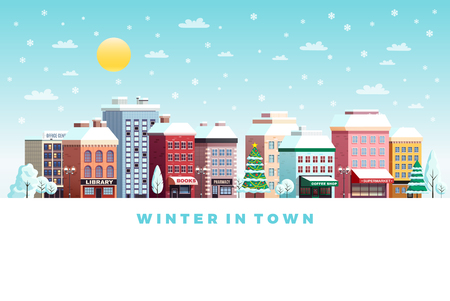 Sunny winter day traditional town street buildings snowy landscape with christmas tree flat poster lettering vector illustration