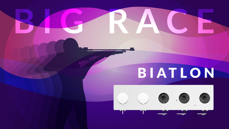 Purple realistic biathlon sport composition with athlete silhouette and big race headline vector illustration