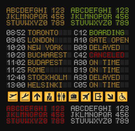 Composizione realistica nel costruttore del bordo dell'aeroporto con l'insieme delle lettere bianche e verdi rosse gialle per l'illustrazione di vettore del bordo dell'aeroporto Vettoriali