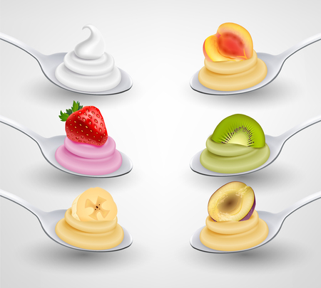 Mini desserts served on spoon appetizing realistic set with strawberry banana kiwi apricot flavored cream vector illustration