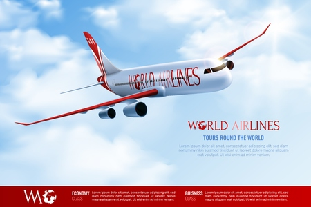 Tours around world advertising poster with traveling passenger airplane on cloudy blue sky background realistic vector illustration