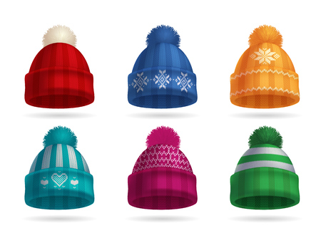 Winter knitted hat realistic set with hat and gloves isolated vector illustration